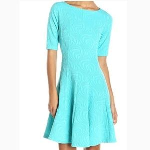 New Julian Taylor Brocade Swirl Fit & Flare Dress